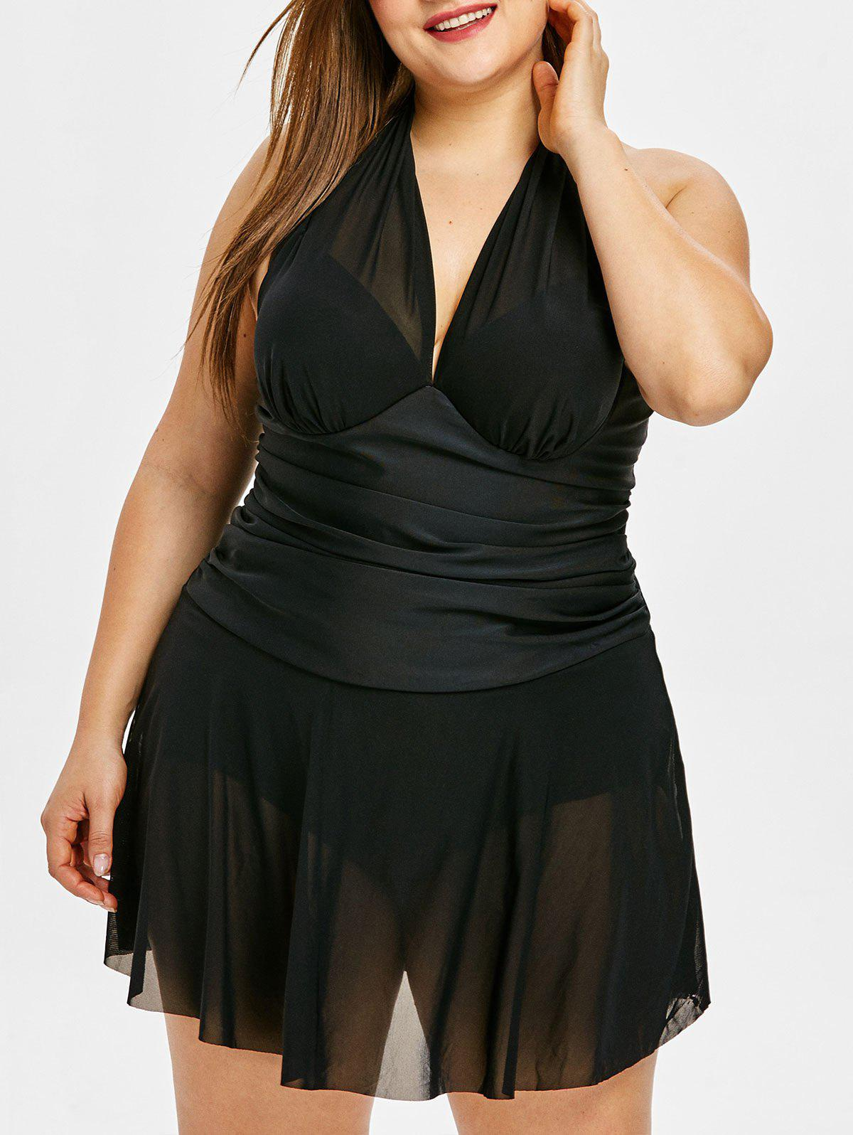 Hot Cross Back Plus Size Mesh Skirted Swimsuit