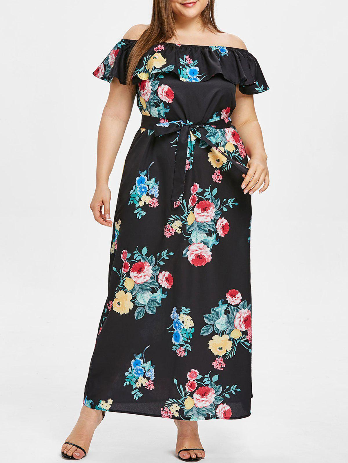 dbc47006eadce 41% OFF] Plus Size Off Shoulder Printed Belted Long Dress | Rosegal