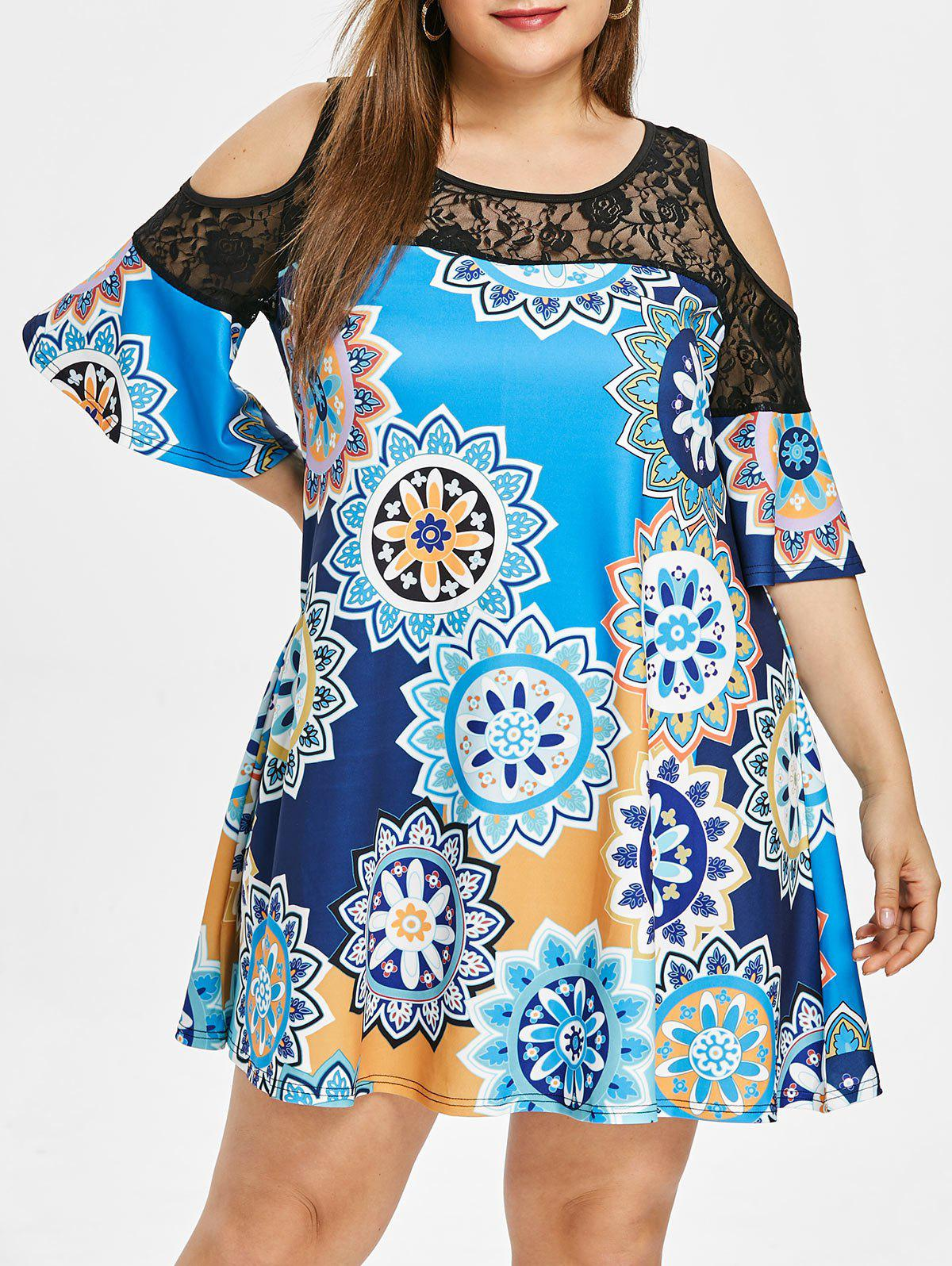 Buy Plus Size Lace Panel Printed Straight Dress