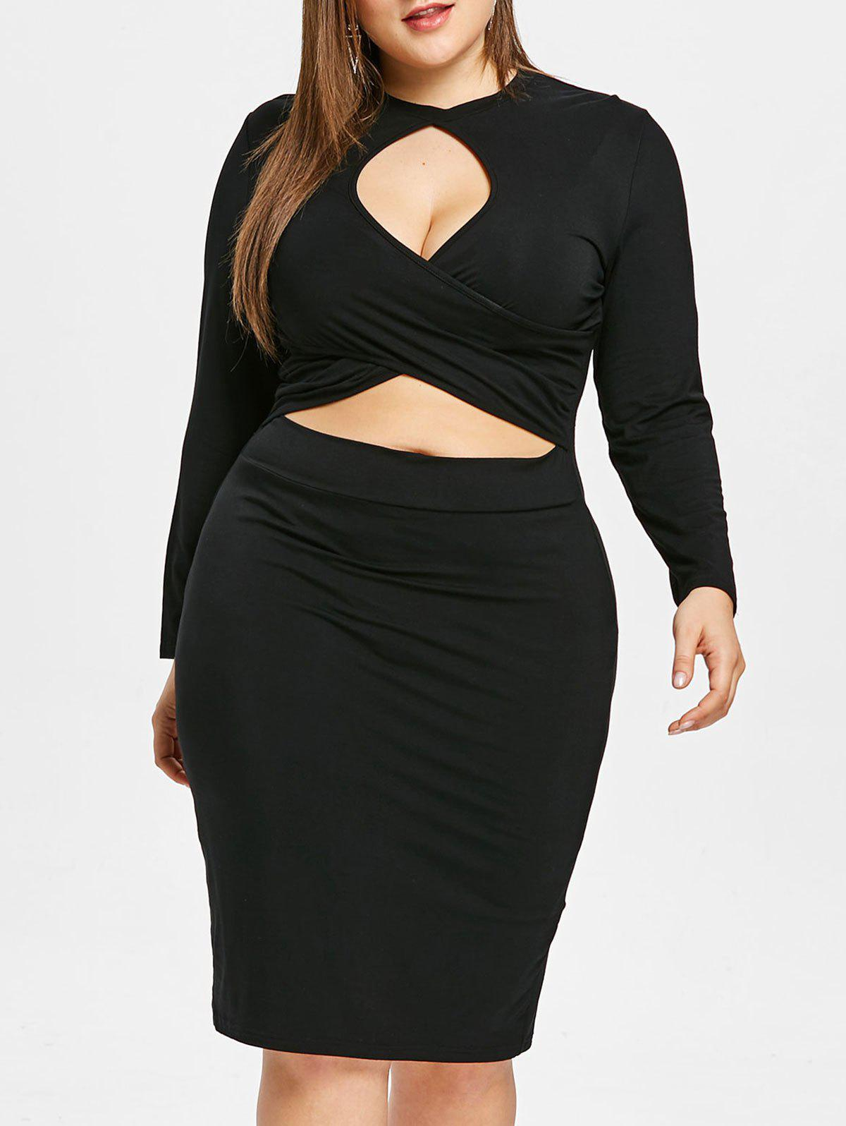 Plus Size Keyhole Crisscross  Knee Length Bodycon Dress