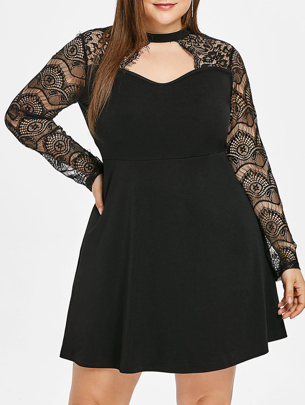 50% OFF] Cut Out Plus Size Lace Sleeve A Line Dress | Rosegal