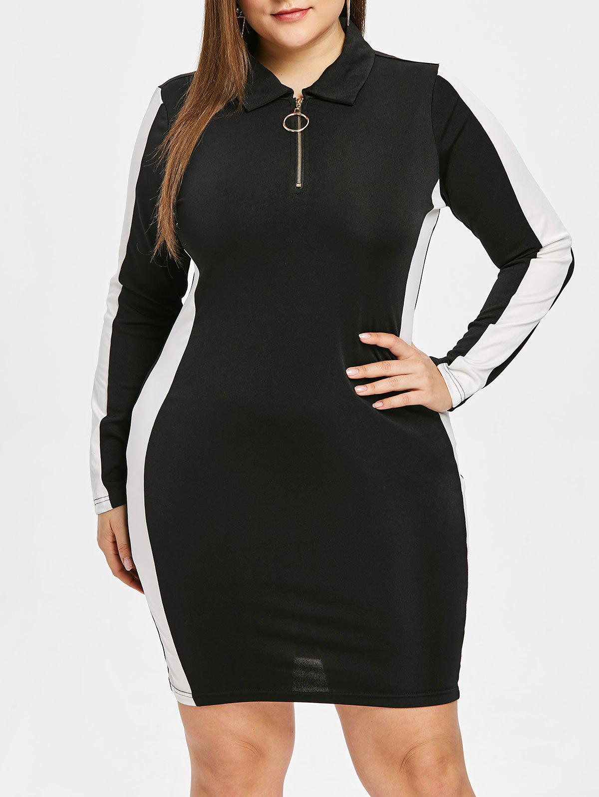 O Ring Zip Plus Size Bodycon Dress