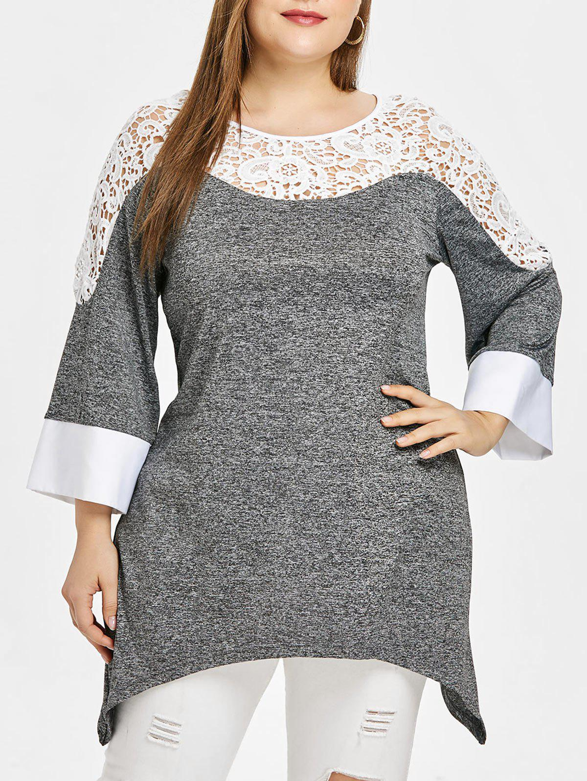 New Plus Size Three Quarters Two Tone Applique T-shirt
