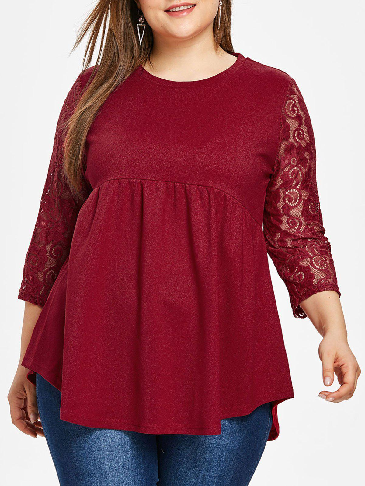 Online Lace Sleeve Plus Size Round Neck T-shirt