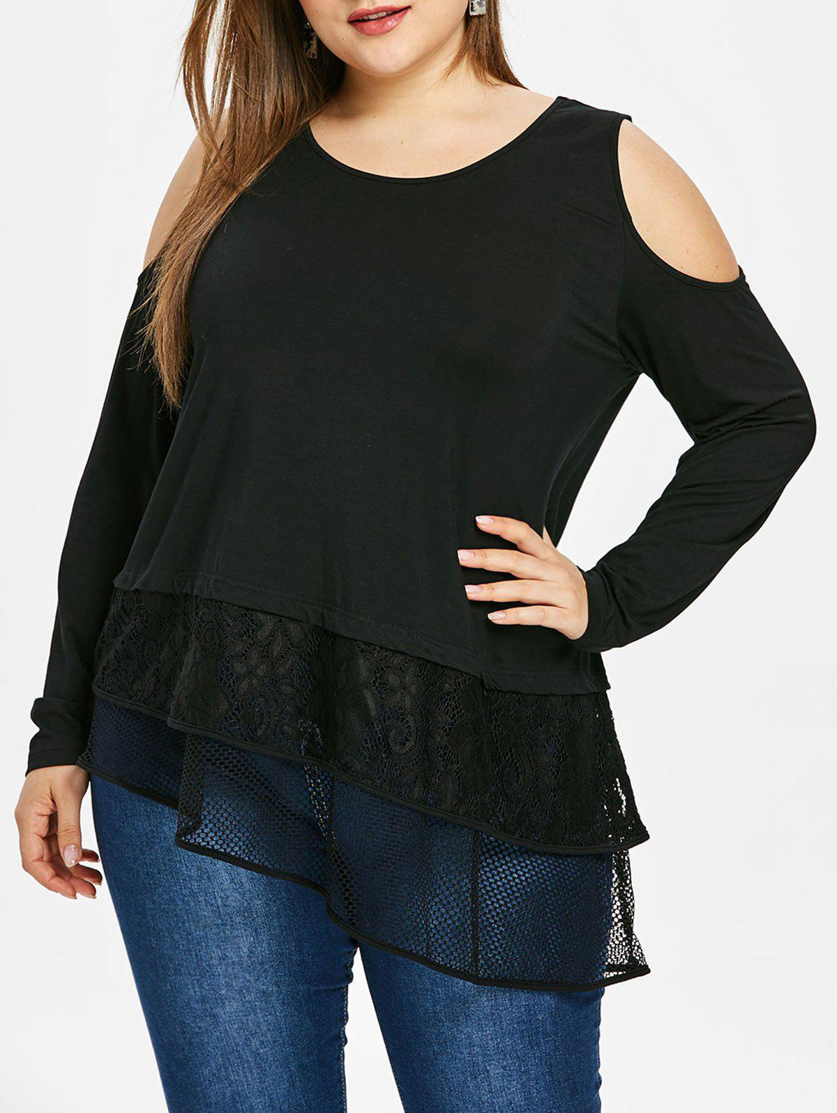 Store Plus Size Cold Shoulder Half Sleeve Skew Hem Lace Panel T-shirt