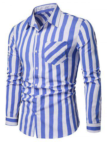 Striped Pattern Chest Pocket Casual Long Sleeve Shirt