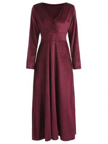 Long Sleeve Velvet Maxi Party Dress - FIREBRICK - S