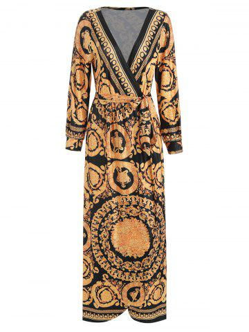 Tribal Print High Slit Maxi Wrap Dress