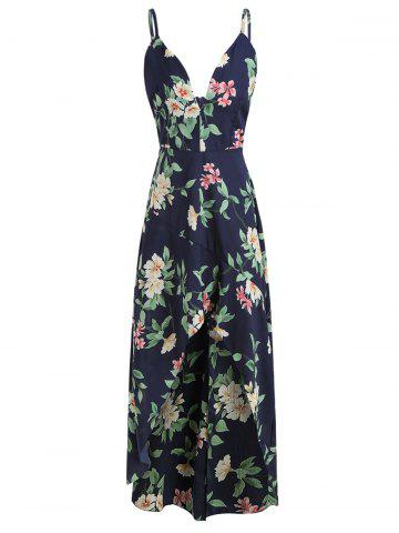Spaghetti Strap Floral Print Flounce High Low Dress
