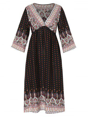 High Waist Printed Bohemian Dress
