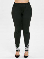 Cut Out Plus Size Printed Leggings -