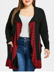 Plus Size Ruffle Striped Open Coat -