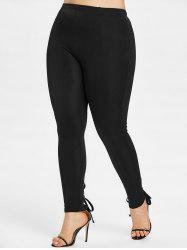 Plus Size High Rise Lace Up Skinny Pants -