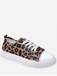 Round Toe Leopard Lace Up Sneakers -