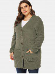 Front Pockets Plus Size Faux Fur Tunic Coat -