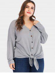 Drop Shoulder Plus Size Knotted T-shirt -