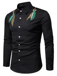 Feather Embroidered Button Up Casual Shirt -