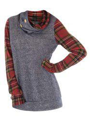Cowl Neck Plus Size Plaid Sleeve Sweatshirt -