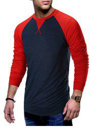 Color Block Raglan Sleeves T-shirt -