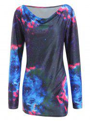 Galaxy Print Plus Size Cowl Neck T-shirt -
