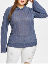 Plus Size Semi Sheer Lace Up Turtleneck Knitwear -