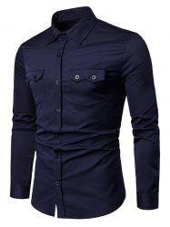 Chest Flap Pockets Casual Long Sleeve Shirt -