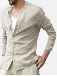 Button Up Stand Collar Long Sleeve Shirt -