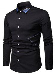Embroidered Collar Button Up Long Sleeve Shirt -
