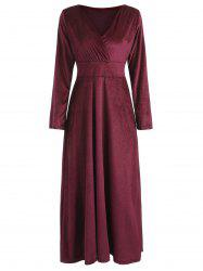 Long Sleeve Velvet Maxi Party Dress -