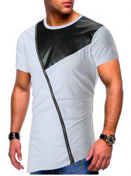 Short Sleeves Side Zipper Panel T-shirt -