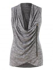 Plus Size Zippered Cowl Neck Tank Top -