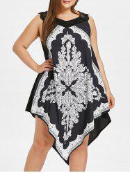 Plus Size Printed Sleeveless Asymmetrical Dress -