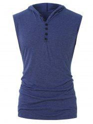 Half Button Hooded Tank Top -