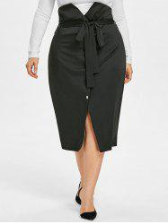 High Waisted Plus Size Buttoned Midi Skirt -