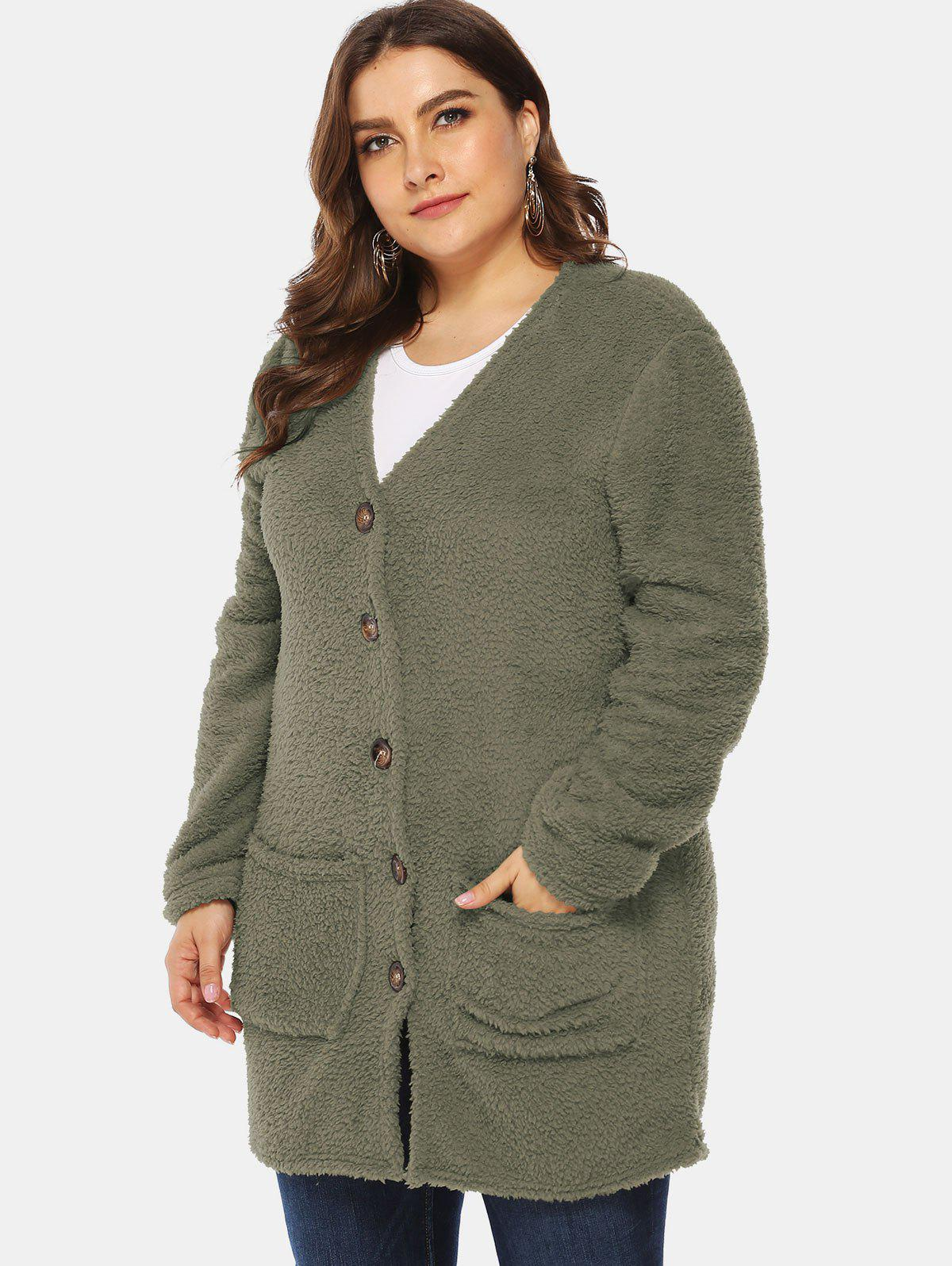 Buy Front Pockets Plus Size Faux Fur Tunic Coat
