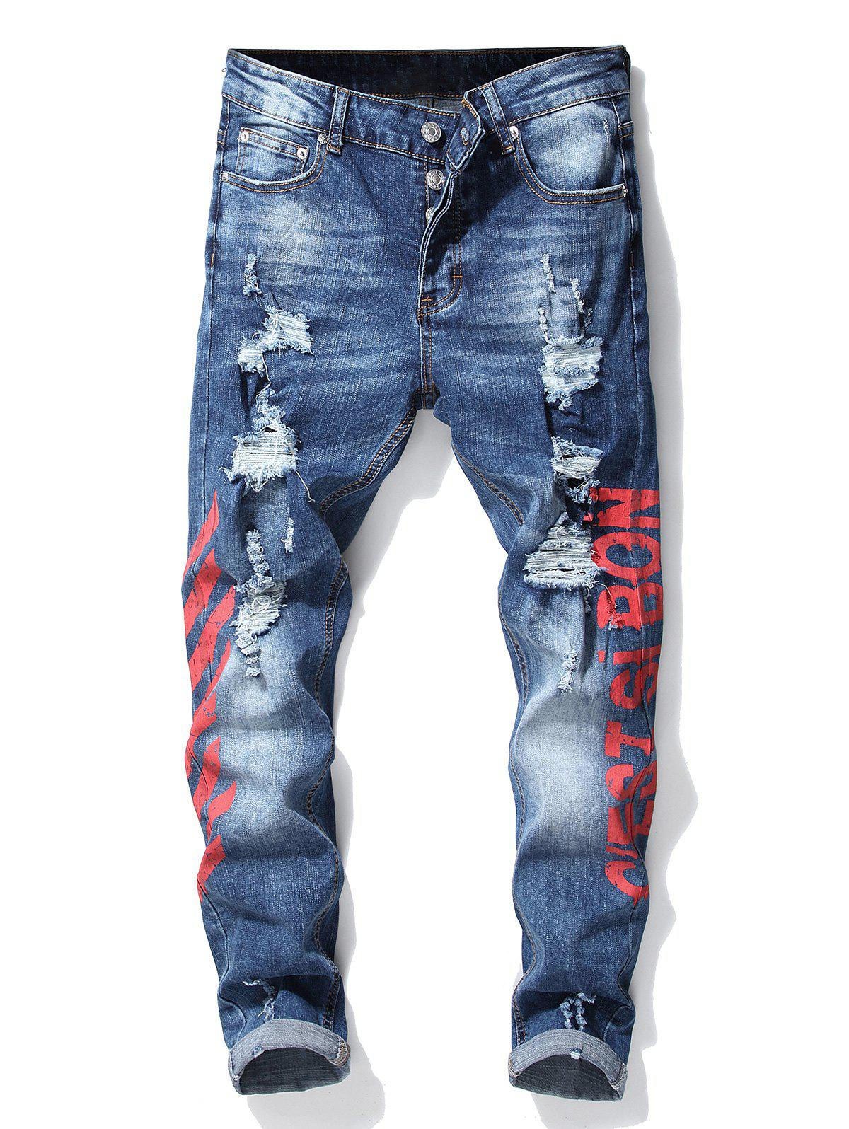 Discount Button Fly Stripe Letter Ripped Slim Fit Jeans