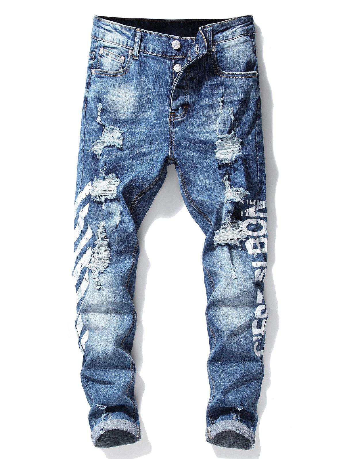 Affordable Button Fly Stripe Letter Ripped Slim Fit Jeans