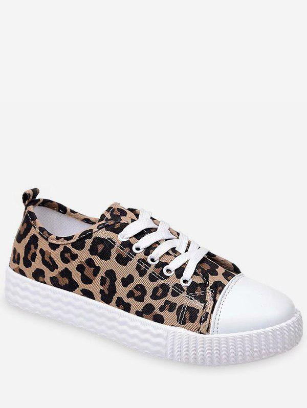 Fashion Round Toe Leopard Lace Up Sneakers