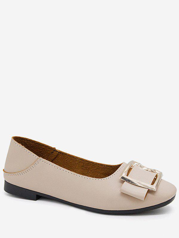 Outfit Buckle Square Toe Slip On Flats