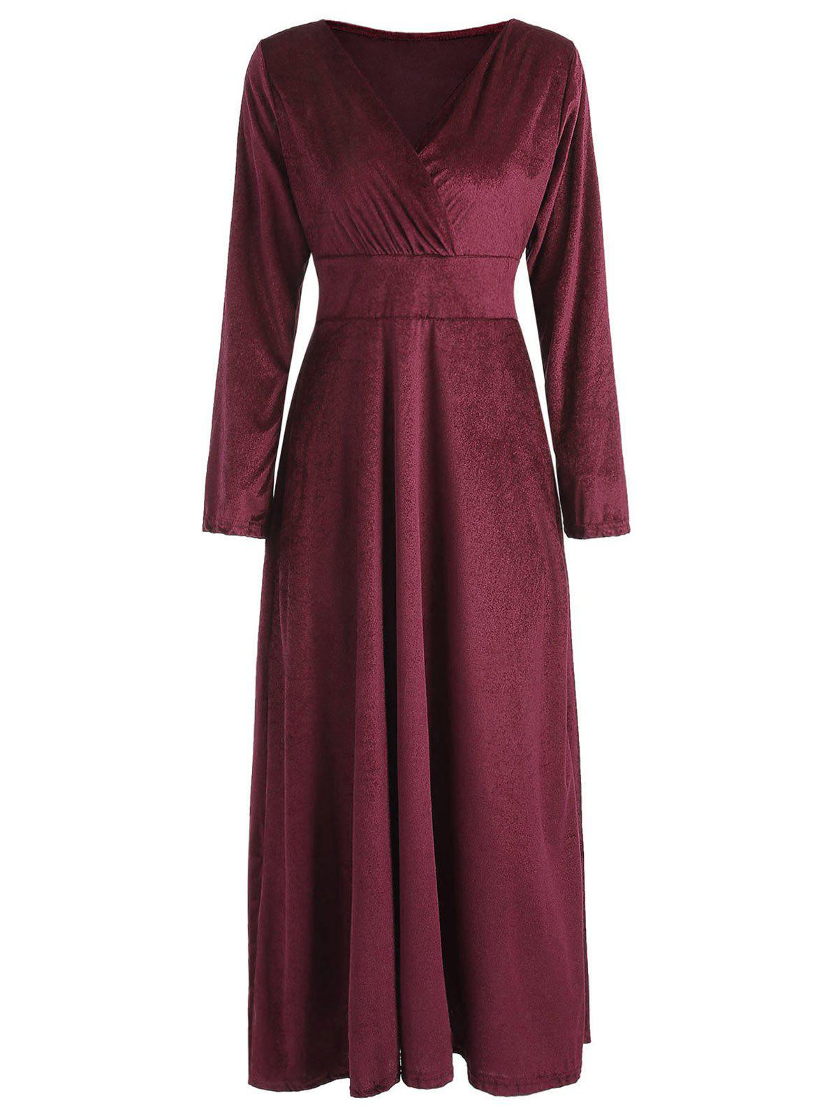 Outfits Long Sleeve Velvet Maxi Party Dress