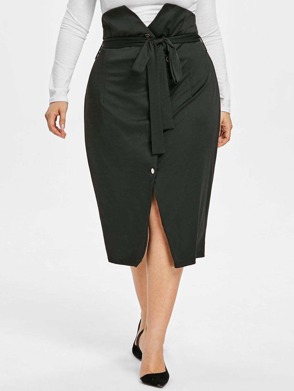 Outfits High Waisted Plus Size Buttoned Midi Skirt