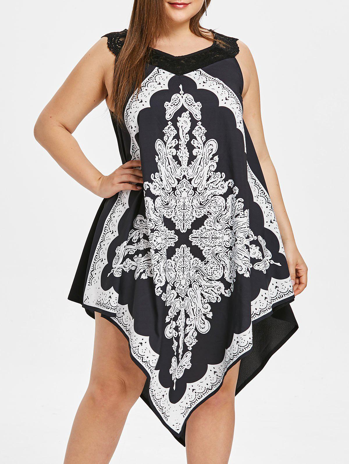 Trendy Plus Size Printed Sleeveless Asymmetrical Dress