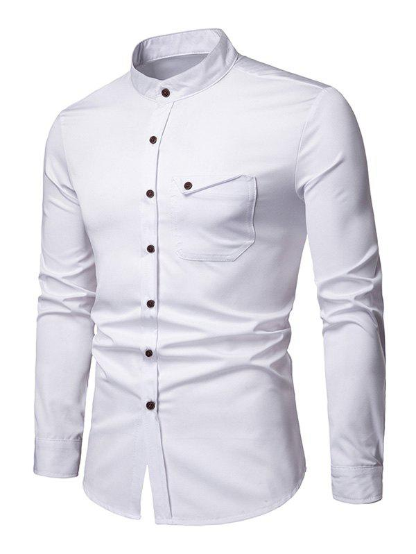 Outfits Stand Collar Chest Pocket Button Up Shirt
