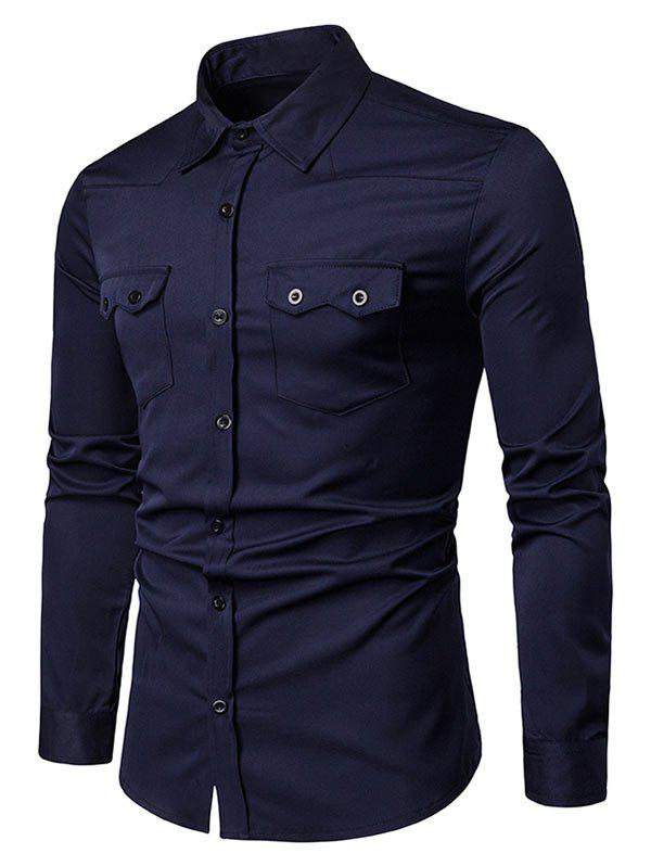 Affordable Chest Flap Pockets Casual Long Sleeve Shirt