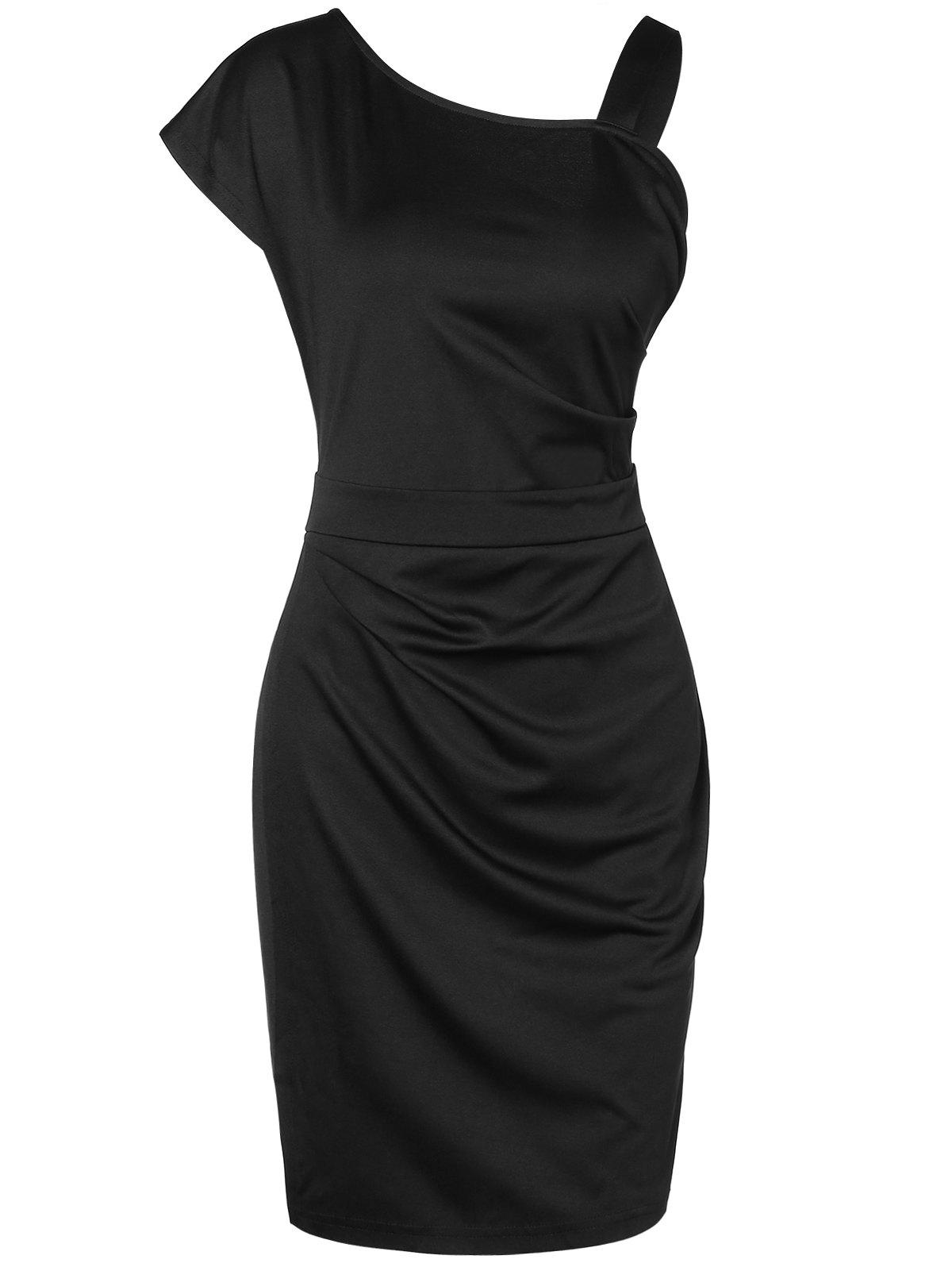 Hot Skew Collar Solid Sheath Dress