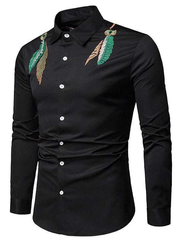 Fashion Feather Embroidered Button Up Casual Shirt