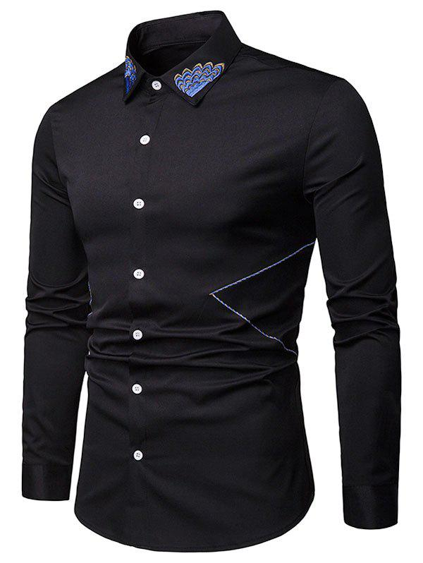 Fancy Embroidered Collar Button Up Long Sleeve Shirt