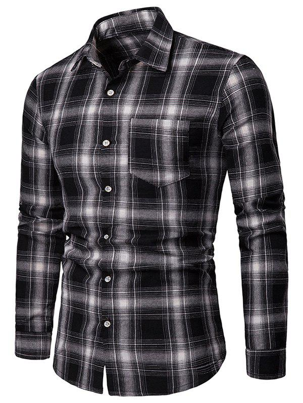 Image of Long Sleeve Chest Pocket Tartan Print Shirt