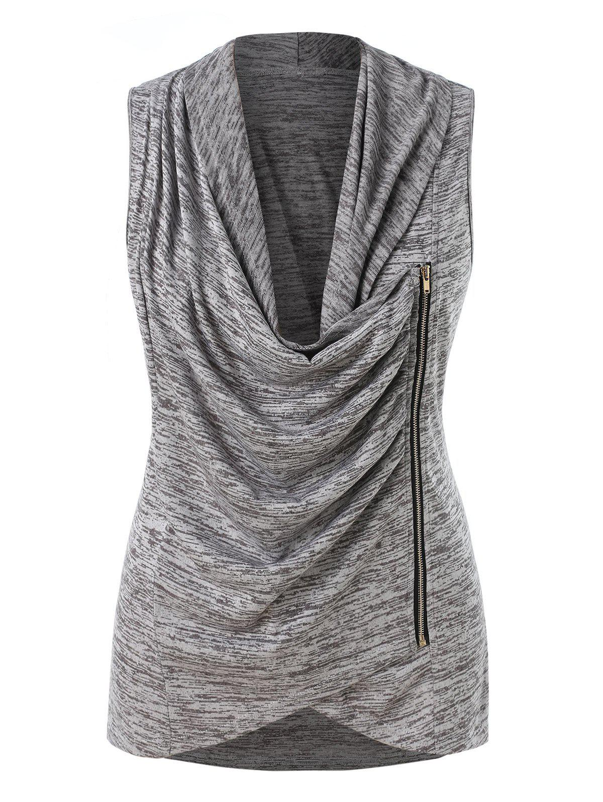 5e66f9800862d 2019 Plus Size Zippered Cowl Neck Tank Top