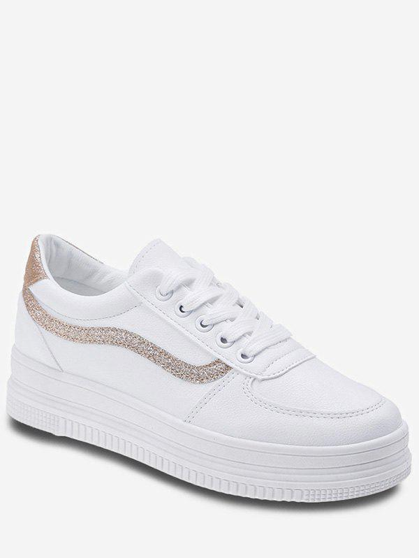 Discount Sequined Stripe Platform Lace Up Sneakers
